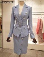 Два куска платье 2021 по прибытии дизайнерские юбки юбка набор блейзер и карандаш MIDI высококачественная офисная одежда женщина