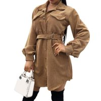 Women's Trench Coats Women Coat Long Shirt Dress Solid Color Double Pockets Autumn Winter Turndown Collar Lace-up For Office