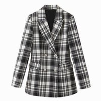 Harada Casual Notched Blazers Women Fashion Slim Plaid Printed Jackets Elegant Double Breasted Suits Female Ladies EAC Women's &