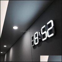 Déce GardenModern Design 3d LED Despertador Digital Exposição Home Sala de Estar Escritório Mesa De Mesa Da Mesa Noite Relógio De Parede Gota Entrega 2021 FGPJG