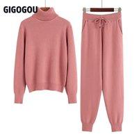Gigogou Iki Parçalı Set Kadın Örgü Spor Takım Elbise Kalın Sıcak Balıkçı Yaka Kadın Kazak + İpli Harem Pantolon Kış Koşu Kıyafetleri 210709