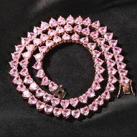 Luxus ausgefrorene Tenniskette Halskette CZ Bling Herzform Männer Mode Hip-Hop Schmuck Frauen 16/18 / 20 Zoll Choker Halsketten Geschenke