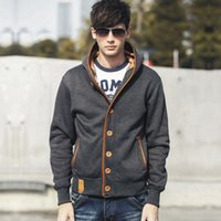 Men's hooded casual solid color cardigan youth jacket Hooded Sweater men's sweaterHUVT{category}