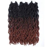 Lans ombre curly häkeln haare 20 zoll synthetische flechten haarverlängerungen göttin faux locs weiche frieds dreadlocks haare 75g / stücke