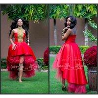 Abito da ballo sexy rosso africano africano ciao basso tulle economico sconto abiti da ballo 2019 abiti da ritorno a corto corto