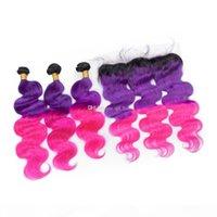 Raíces oscuras 1B Extensión de trama de pelo rosa púrpura con oreja a oreja Frontal Virgen Human Body Wave Hair 3bundles con encaje frontal