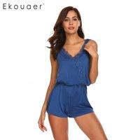 Ekouaer Frauen One Piece Pyjamas Sommer Nachtwäsche V-ausschnitt ärmellose Patchwork Weste Elastische Taille Shorts Sleepwear Pyjama Sets