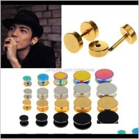 Stud 10Pcs Stainless Steel Faux Fake Ear Plugs Flesh Tunnel Gauges Tapers Stretcher Earring 614Mm Piercing Jewelry X6Aus 5Zikw