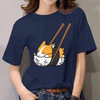 Women s Funny Sushi Corgi Dog Leisure Short Mouw Around the Neck Clothing Pure Cat T-shirt Plus Size Tops