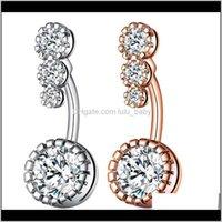 Bell Drop Livraison 2021 Diamant Dangle Bars Bouton Boite Crystal Crystal Bijoux Bijoux Navel Piercing Anneaux Forme de fleur Pendentif Nsdyx