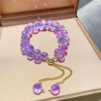 Link, Chain Origin Summer Sweet Fashion Purple Transparent Crystal Beaded Bracelets For Women Fairy Adjustable Round Jewelry