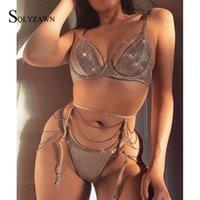 Sexy Shiny Rhinestone Diamond Bra Set Temptation Lace Women Underwear Hollow Push Up Bra+Through+Garter 3-piece Lingerie Club X0526