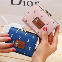 Metal Wallet Tri Fold Ladies Short Cute Small Purse Flower Female