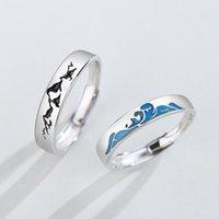 Cluster Rings Silvolog 925 Sterling Silber Berg Meer Paar Damen Feierliche Verpfändung von Liebe Hochzeit Liebhaber 2021 Original Schmuck