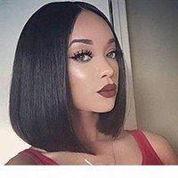 도매 인간의 머리 가발 똑바로 레이스 프런트 가발 아기 머리 130 % 밀도 브라질 바디 웨이브 인간의 머리 가발 짧은 비 레이스 전체 가발