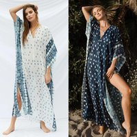 Primavera Summer V-Neck Half Bat Sleeve Muslim Robe Dress Delle Donne Stampa per vacanze Casual Beach Gonna Costumi da bagno Donne