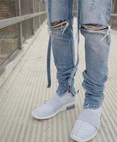 Men's Jeans Justin Bieber top Distressed Slim Belted Blue fog jeans with ribbon Men Ankle zips Knee Holes Biker Streetwear PANTS WK0M