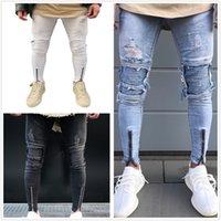 Männer Jeans Mann männlich gerissener Drapierter Biker Knie Plissee Knöchel Reißverschluss Marke Slim Fit Cut Zerstörung Skinny Jean Lässige Mode Hosen für Homme