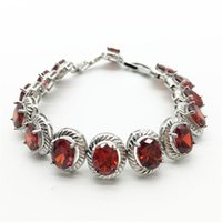 Link, Chain Wholesale Design Egg Shape RED Cubic Zirconia Tennis Bracelets For Women Wedding Gift Jewelry