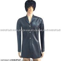 Giacca a lattice lunga sexy nera con bottoni anteriore cappotto di gomma vestiti abbigliamento 0071