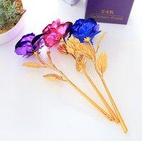Yapay Uzun Kök Çiçek 24 K Altın Folyo Kaplama Gül Hediyeler Için Lover Düğün Noel Sevgililer Anneler Günü Ev Dekorasyon HHD6345