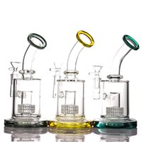 Hookahs 14mm female three color yellow dark green Tires style perc glass bong for smoke