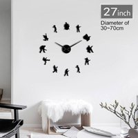Mute DIY Wall Clock Modern Music Band Drum Set Guitar Player Home Decor Self Adhesive Acrylic Mirror Effect Watch Clocks