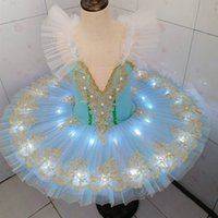 Led Ballet Tutu Professional Ballerina Child Kids Swan Lake Dance Costumes Adult Girls Light Pancake Toddler Ballet ZHL6178