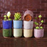 Ice Cracked Mini Ceramic Flower Pot Colorful Cute Flowerpot For Desktop Decoration Meaty Potted Plants Planters 8 Style