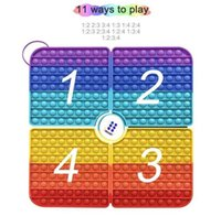40CM Large rainbow square fidget toys 4 parts foldable chessboard push bubble board game kids children's early education fingertip puzzle christmas gift H924FPIE