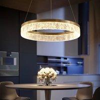 Nordic Golden Chandelier Ring Resin lamp Texture Lampshade Light Luxury Modern Villa Duplex Living Dining room Bedroom