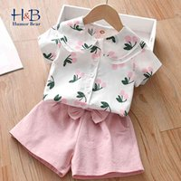 Girls Clothes Sets Summer Short Sleeve Cartoon Shirt+ Shorts 2Pcs Casual Outfits Kid 210507
