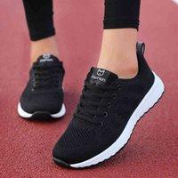 Dress Shoes Tênis feminino liso casual, calçado respirável com cadarço POZU