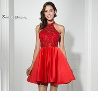 Short Red A-Line Prom Dresses 2019 Sexy Backless Cocktail Tulle Mini Skirt Homecoming Dress Formal Graduation Party Gown LX316