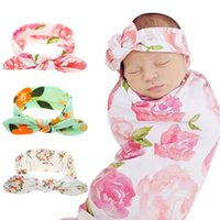 Ins accessoires pour bébé accessoires de cheveux Bandeau de coton de la lapin de coton Headwear coiffe filles enfants floral turban torsadé bandes d'oreilles enfants