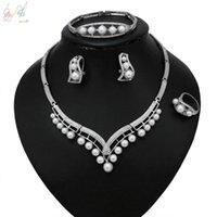 Earrings & Necklace Yulaili Retro Imitation Pearl Choker Stud Bracelet Ring For Women Bridal Bridesmaid Wedding Jewelry Sets