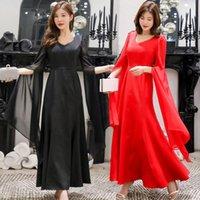 Casual Dresses BIG SIZE M~4XL Summer Fashion Elegant Long Ruffles Lady Dress Female Women Plus Large Chiffon Party Evening Club