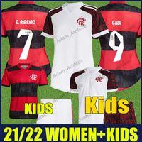 Flamengo Femme Soccer Jerseys Kit Kit Enfants 2021 2022 de Arrascaeta Gabi Jersey Football Jersey Diego Gerson Femme Enfants Chemises 21/22 Camisa Mengo Feminina Infantil