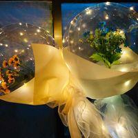 LED leuchtender Ballon Rose Blumenstrauß Transparente Blase Rose Sonnenblume Lilie mit Stock LED Bobo Ball Valentines Tag Geschenk Hochzeits-Party Decor G50Kuva