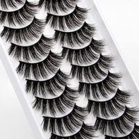 Wholesale 10Pairs Natural Thick False Eyelashes 10 Styles Faux 3D Mink Fake Eyelash Fluffy Handmade DIY Lashes Extension For Women & Girls