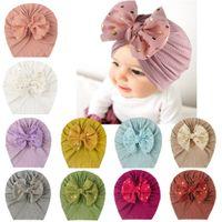 Baby Girls Bow Turban Cap Beanie Bonnet for Toddlers Newborns Infants Headband Cute Head Wrap Hat Winter Warm Caps Hair Accessories Free DHL