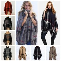 Plaid Poncho Grid Sweater Wraps Women Cloak Coats Vintage Shawl Cardigan Tassel Fashion Knit Scarves Tartan Winter Cape Blankets Gifts B3524