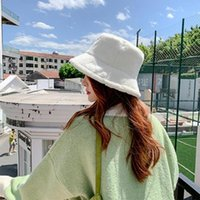 Wide Brim Hats Bucket Women Hat Lamb Wool Warm Fisherman Windproof Sun Protection Plush Cap Hair Accessories