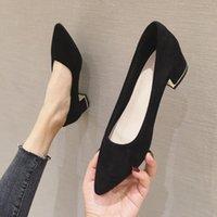 Kleid schuhe halozeroo mode frauen pumpen ströme quadratische ferse schwarz nackte farbe med heels spitze spitze flach größe 34-40 für lady a7
