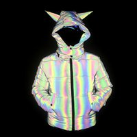 Stylish designs hi vis black rainbow reflective overcoat cotton down padded puffer hooded jackets for winter warm fashion
