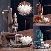 Lâmpadas de fragrância Buddha incenso adesivo titular lótus backflow queimador roxo areia cachoeira cachoeira cerâmica censador decorativo