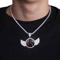TOPGRILLZ GOLD CUSTULD MEAD Photo с крыльями Медальоны Ожерелье Кулон 4 мм Теннисная цепь Кубический Zircon Mens Hip Hop Ювелирные изделия