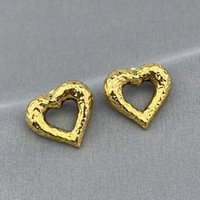 Luxury 2021 top designer lady Fashion Charm Accessories heart shaped gold color earrings party wedding couple gift engagement jewelry good nice