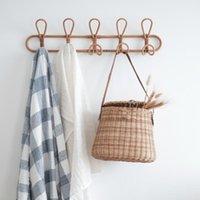 Hangers & Racks Ins Handmade Rattan Hanger Wall Hooks Clothes Hat Handbag Hanging Hook Crochet Cloth Holder Organizer For Home Decor