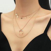 Chains Fashion Simple Multi-layer Necklace Star Moon Disc Tassel Pendant Female Necklaces For Women Party Jewelry Gifts